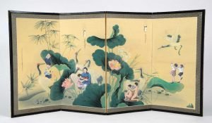 """Collage screen titled """"August 6th, August 9th, 1945,"""" Japanese screen, collage, ink, 68"""" x 36"""""""