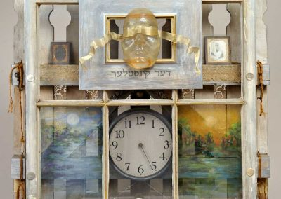 """""""Baltimore Self-Portrait"""" Wood, resin, tintypes, clock, various found objects, 30' x 29' x 6"""""""