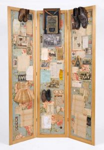 """Screen Collage titled """"The Forensics of Complex Connections,"""" Collage, various found objects, ephemera and photos, 72"""" x 40"""" x 20"""" created by Ruth Lozner"""