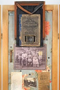 """Screen Collage titled """"The Forensics of Complex Connections,"""" Collage, various found objects, ephemera and photos, 72"""" x 40"""" x 20"""" Detail 1, created by Ruth Lozner"""
