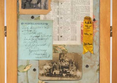 """Screen Collage titled """"The Forensics of Complex Connections,"""" Collage, various found objects, ephemera and photos, 72"""" x 40"""" x 20"""" Detail 2, created by Ruth Lozner"""