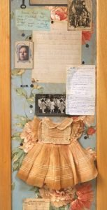 """Screen Collage titled """"The Forensics of Complex Connections,"""" Collage, various found objects, ephemera and photos, 72"""" x 40"""" x 20"""" Detail 3, created by Ruth Lozner"""