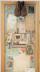 """Screen Collage titled """"The Forensics of Complex Connections,"""" Collage, various found objects, ephemera and photos, 72"""" x 40"""" x 20"""" Detail 4, created by Ruth Lozner"""