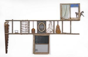 """""""Inside Then Out (Lorton Sequence),"""" Various found objects, including ladder, windows, screening, 106"""" x 72"""" x 4"""""""
