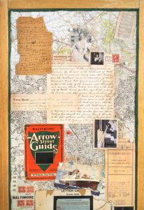 """Collage titled """"The Rise and Fall of Place (The Baltimore Story),"""" Collage, various found and personal ephemera and photos, Created by Ruth Lozner, Detail 1"""