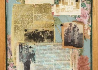 """Collage titled """"The Rise and Fall of Place (The Baltimore Story),"""" Collage, various found and personal ephemera and photos, Created by Ruth Lozner, Detail 3"""