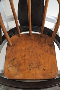 """""""The Survivors,"""" Wood chairs, stool, screwdriver, pain, (Detail)"""