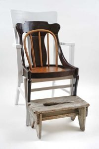 """""""The Survivors,"""" Wood chairs, stool, screwdriver, pain, 20"""" x 40"""" x 32"""""""
