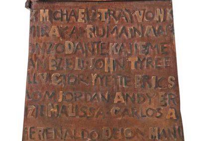 """Unarmed Truth: A Memorial,"" Wood, resin, metal (Detail 2)"