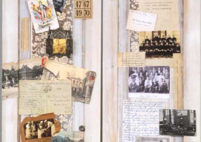 """Collage Detail 2 titled """"War, Peace, War, Peace, War, Peace… (the Cultivation of Soldiers),""""Collage, various found objects, including a WW11 Medic's Log, slide specimens, and Morse Code device, ephemera and photos, 42"""" x 75"""" x 15"""" created by Ruth Lozner"""