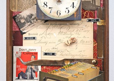 """Collage created by Ruth Lozner called """"Derivatives,"""" Various found objects and collage, 101/2"""" x 15 ½"""""""