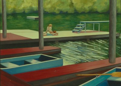 """Painting by Ruth Lozner titled """" Sweet Briar Boat House"""". 54"""" x 72"""""""