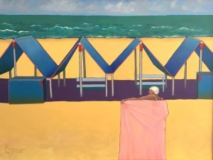 """Painting by Ruth Lozner titled """"Cape May Bather"""" 54"""" x 72"""""""