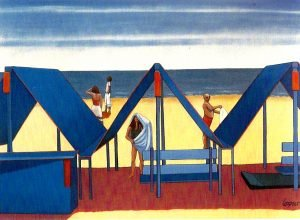 """Painting by Ruth Lozner tilted """"Cape May Summer 54"""" x 72"""""""