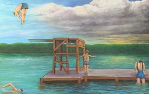 """Painting by Ruth Lozner titled Lake Hope"""", 34"""" x 52"""""""