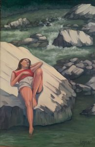 """Painting by Ruth Lozner titled """"Susan on the Virgin River"""""""