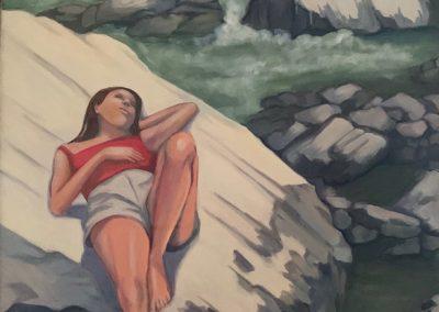 Susan on the Virgin River, acrylic on canvas, 38 x 50